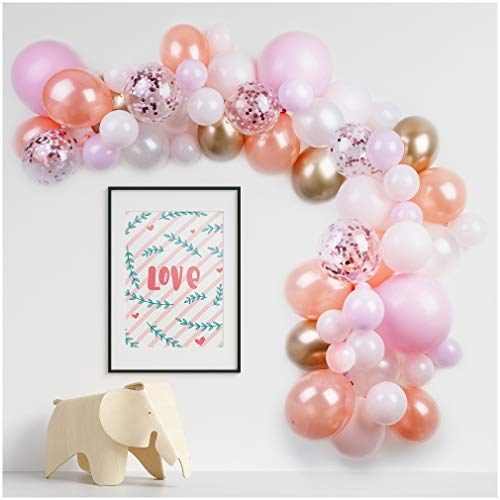 PapaKit Deluxe DIY Balloon Garland Set | 57 pc Assorted Balloons (10ft) | Decorating Strip, Glue Dots | Wedding Bridal Baby Shower Party Decoration (Sparkling Rose Blush)
