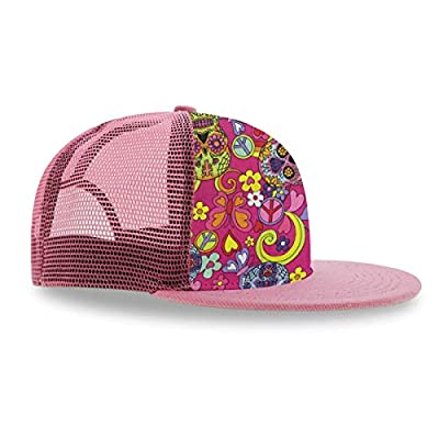 YongColer Pink Flat Bill Hat Hippy Sskulls Butterflies Women Girl Trucker Hat Gift