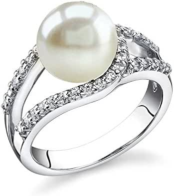 9mm White Freshwater Cultured Pearl Tessa Ring