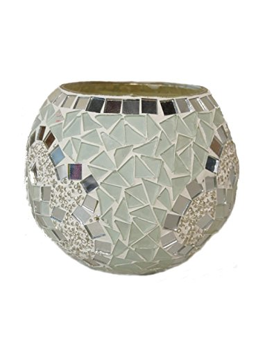 4 x 4 Votive Round Glass Candle Holder – Mosaic Art Red and Multi-colored - Multi Colored Mosaic Glass