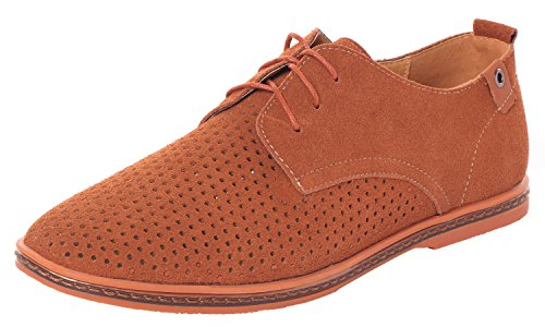Serene Men's Summer Fashion Lace Up Suede Leather Cutout Breathable Casual Oxfords(7.5 D(M)US,tan) (7.5 D(M)US, (Sofft Tall Shoes)
