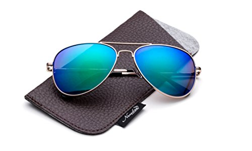 Newbee Fashion-Polarized Kids Teens Juniors Aviator Polarized Sunglasses Stainless Steel Frame Spring Hinge Kids Polarized Sunglasses for Girls & Boys UV Protection with Carrying - For Sunglasses Teens Aviator