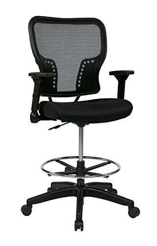 Deluxe Drafting Chair - SPACE Seating Deluxe AirGrid Back and Padded Mesh Seat, Pneumatic Seat Height Adjustment and 4-Way Adjustable Flip Arms Managers Chair, Black