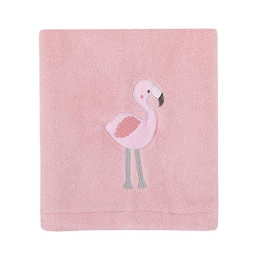 (Nojo Tropical Flamingo Pink Plush Coral Fleece Baby Blanket With Applique, Pink, White, Aqua)