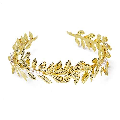 HUELE Fashion Gold Leaf Bridal Headpieces Wedding Headband Bridal Hair Crown HeadBand Bridal Hair Accessories for Wedding