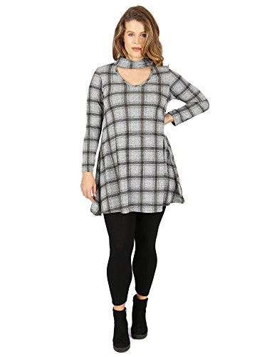 Grey Print Koko Check Swing Choker Dress Detail With ZRa7q