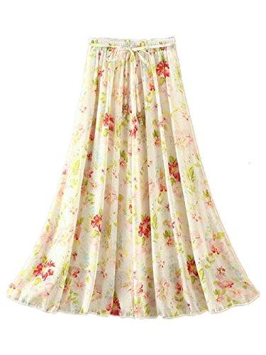 Lache Mi Beau Femme De T Mousseline Beige4 Floral Haililais Plisse Jupe Longue Jupe En Jupe Jupe Fashion Jupe Plage Casual Jupe Ethnique FIzp7qc