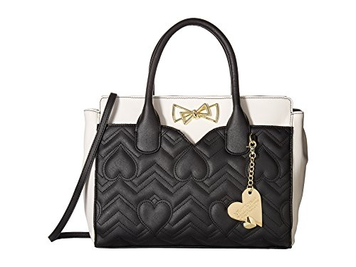 Betsey Johnson Womens Dip Satchel with Removable Pouch Black One Size