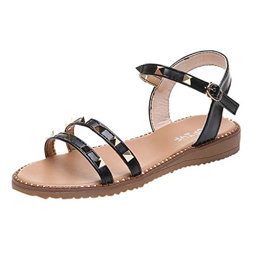 refulgence Ladies Sandal Rivet Style Beach Flip-Flops Strappy Flat Sandal Summer Prom Wedding Shoes(Black,US=6.5) - Rivet Style
