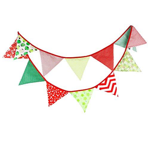 Natsunohi Flag Garland Fabric Flag Banners Buntings Garlands Burlap Banner, DIY Decoration Wedding Party (Christmas)