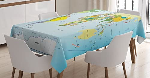 Ambesonne World Map Tablecloth World MapCountries and Capital Cities EarthOceans Lakes Graphic Art Rectangular Table Cover for Dining Room Kitchen Decor 60 X 90 Pale Blue