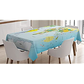 Amazon artsadd home decor world countries flags cotton linen ambesonne wanderlust decor tablecloth world map with countries and capital cities of the earth with gumiabroncs Choice Image