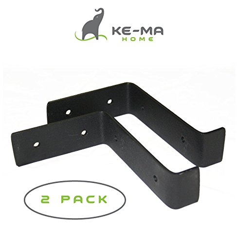 Kema Home Modern Rustic Wall Shelf Brackets. Handcrafted Forged Black Iron. DIY Home Decor, Open Shelves. 5.5