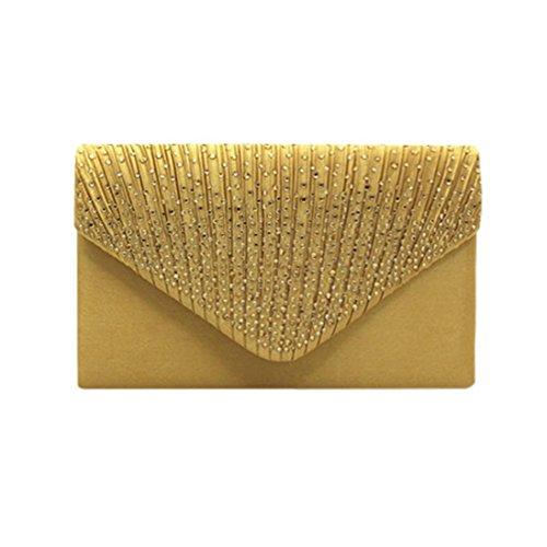 Saihui - Cartera de mano de Satén para mujer dorado