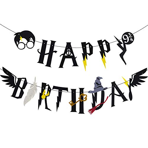 - Wizard Happy Birthday Banner HP Birthday Themed for Kids Party Supplies Decorations