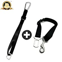 CatYou 2-Pack Pet Car SeatBelt Tether for Dog Cat Including Carabiners and Tangle-Free Swivel Attachment