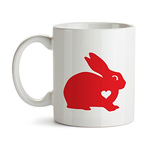 [Bunny Rabbit Mug Coffee Red Heart Lover - Best Super Funny and Inspirational Decoration Gifts for Rabbit Owners - 11 oz ounce Ceramic Tea Cup - Ultimate Animal Pet Enthusiast Travel] (Costume Design For Rabbit Hole)