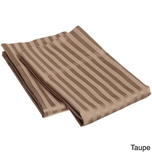 (Rajlinen 100% Egyptian Cotton 1 Pair Pillow Case Soft Smooth & Long Staple 300-Thread-Count King Size Taupe Stripe)
