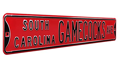 (Authentic Street Signs 70137 South Carolina Gamecocks Ave, Heavy Duty, Metal Street Sign Wall Decor, 36