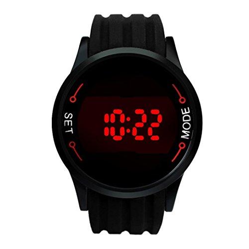 Ouneed® Wasserdichte Mode Herren Uhren LED Touch Screen Datum Silikon Handgelenk Black Watch (schwarz)
