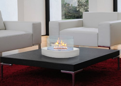 Lexington Fireplace - Anywhere Fireplace - Lexington Tabletop Bio Ethanol Clean Burning Eco Friendly Fireplace in High Gloss White