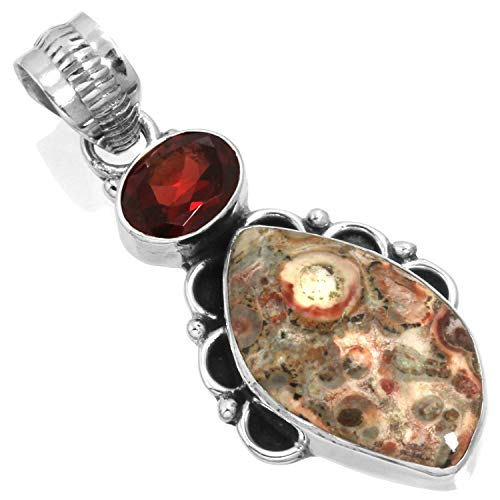 - Natural Leopard Skin Jasper Gemstone Pendant Solid 925 Sterling Silver Handcrafted Jewelry