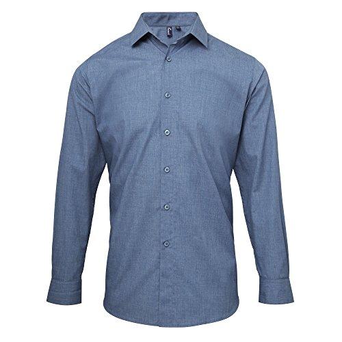 Premier Mens Poplin Cross-Dye Roll Sleeve Shirt (XS) (Indigo Denim)