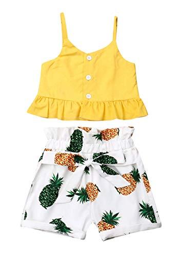 VISGOGO Toddler Baby Girls Outfits Clothes Set Halter Crop Tops + Flamingo Short Pants (6-12 Months, J) ()
