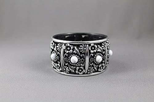 Silver Black White bracelet textured medallion plastic hinged bangle cuff -