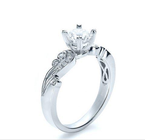 Gowe brillant 1CT Esdomera moissanites Bijoux en or massif 9K Or blanc diamant de fiançailles bague de mariage Couleur F Lab Cultivées Diamant