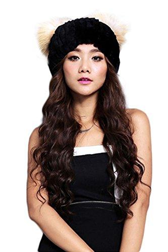 Queenshiny Women's 100% Real Rex Rabbit Fur Knitted Hat with Fox Fur Trim-Black ()