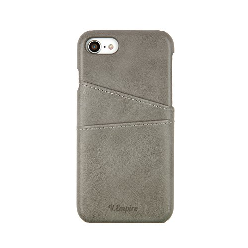 Leather iPhone Case for iPhone 7 | iPhone 8 Case | Wallet iPhone Case | Slim Leather Credit Card Holder (Grey - 7)