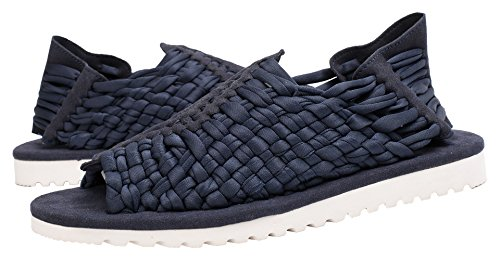 RONGLONG Woven Elastic Slip on Flat Sandals For Men Blue jRP4W7xr