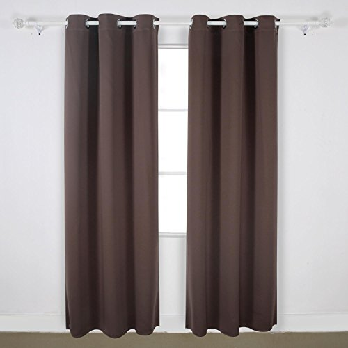 Chocolate Window Panels (Deconovo Room Darkening Thermal Insulated Blackout Grommet Window Curtain For Infant Room, Chocolate,42x95-Inch,1)