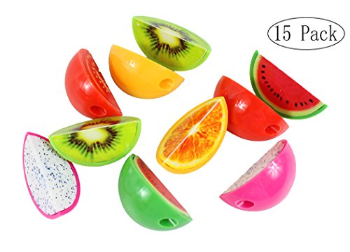 Xiaoyu 15PCS Creative Stationery Cartoon Fruit Shape Plastic Pencil Sharpener for School, Office, Christmas Gift (Colors May Vary) -