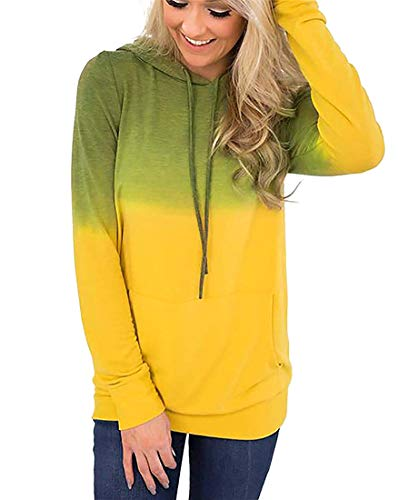 NEWCOSPLAY Women Hoodies-Tops Floral Printed Long Sleeve Drawstring Sweatshirt with Pocket (S, 0047yellow)