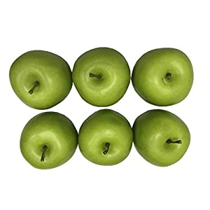 Lifelike Artificial Green Apples Simulation Faux Fake Apple Decorative Fruits Home House Table Display 6 Pack 95