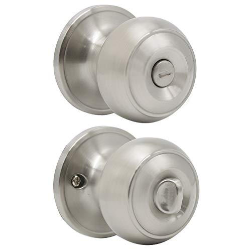 Probrico Colonial Style Door Knobs Door Locks (Privacy, Satin Nickel)