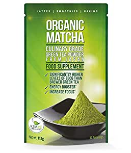 Matcha Green Tea Powder - Powerful Antioxidant Japanese Organic Culinary Grade Matcha - 113 grams - Increases Energy and Focus - Naturally Supports Weight Loss Goals and Healthy Metabolism