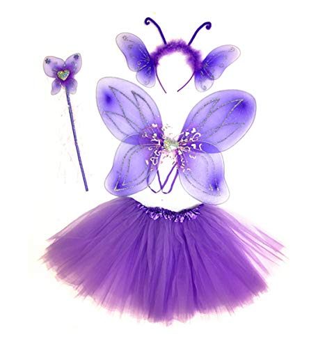 Mozlly Purple Heart Glittery Butterfly Fairy Tutu Costume