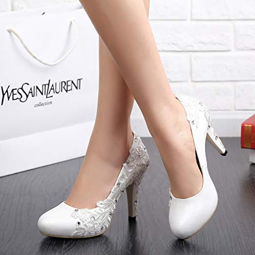 Donne 5 Decolleté toe A Vaggrt Bianco Slip Spillo Uk on 5 10 Round Centimetri Vaneel BOq4WxFwdB