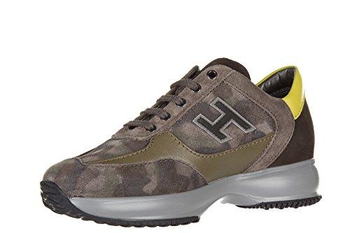 Hogan scarpe sneakers bimbo bambino camoscio nuove interactive h flock marrone