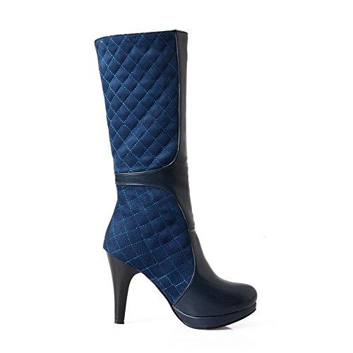 AgooLar Damen Blend-Materialien Rund Zehe Rein Mitte-Spitze Mittler Absatz Stiefel, Gelb, 42