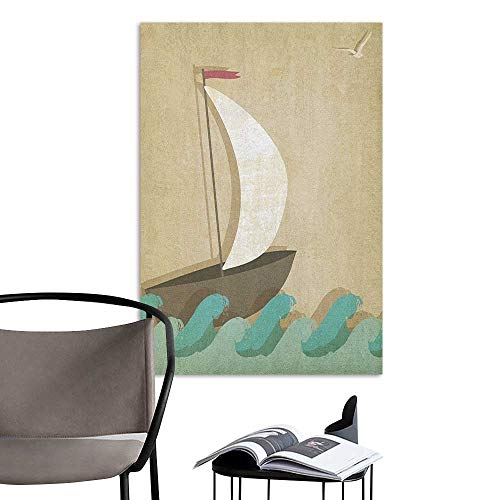 (Wall Mural Wallpaper Stickers Ocean Sail Boat On Waves with Seagulls Nautical Theme for Ocean Lovers Print Seafoam Sand Brown White Office Fashion W8 x H10)