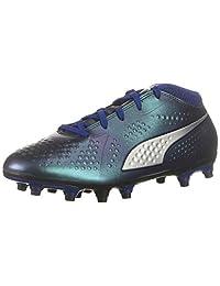 PUMA Unisex One 4 Syn FG Jr Soccer Shoe, Sodalite Blue Silver-Peacoat, 4 M US Big Kid