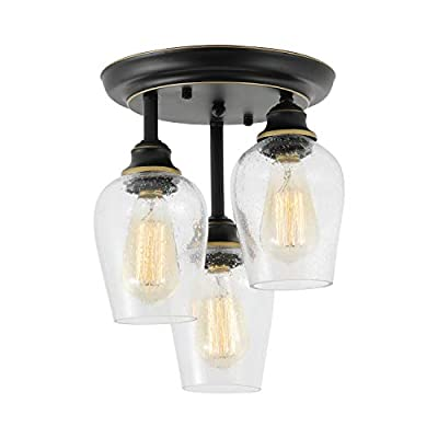 Ceiling Lights Fixtures, HMVPL Semi Flush Mount Kitchen Close to Ceiling Lamp, Farmhouse Edison Seeded Glass Pendant Lighting for Island Dining Room Hallway Bedroom (3-Lights)