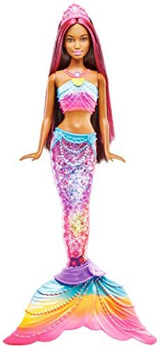 Barbie Dreamtopia Mermaid Rainbow Lights Doll, Dark Brown & Pink Hair (Necklaces Light Christmas Up Discount)