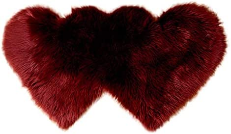 FILOL Faux Fur Sheepskin Area Rugs, Soft Shaggy Wool Carpet Mat Floor Sofa Cover Seat Pad for Home Decor Living Room Bedroom Wine, L