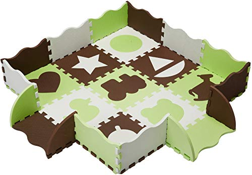 Wee Giggles Non-Toxic, Extra Thick Foam Floor Play Mat for Tummy Time and Crawling, 48' x 48' (Green)