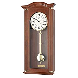 River City Clocks 5207W Walnut Chiming Wall Clock with Brass Accents